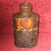 Antique Toleware Metal Tea Caddy Tin Jar