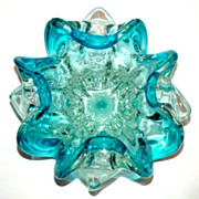SOLD Bullicante Art Glass Bowl, Bright Blue and Clear