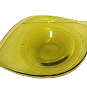 Blenko Asymmetrical Bowl, Winslow Anderson, Light Olive Green