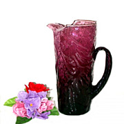 Amethyst Art Glass Pitcher, Crinkle Pattern with Twist Handle
