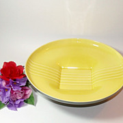 Art Deco Style Pottery Bowl In Gray And Yellow, Roselane