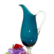 Blue Art Glass Martini Pitcher with Clear Handle & Base