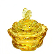 SOLD Topaz Butterfly & Rose Candy Box, Fenton Art Glass
