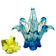 Blue Art Glass Basket with Split Handle, Hand Blown