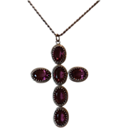 Lovely Danecraft Sterling & Amethyst Glass Cross Neckalce