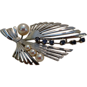 SALE Gorgeous Silver, Cultured Pearl and Genuine Sapphire Brooch