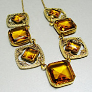 SOLD 1920's Art Deco Necklace Golden Topaz Glass 12k Gold Filled Chain Earrings