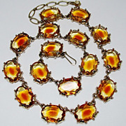 SOLD Chunky Open Back Glass Necklace Big Citrine Topaz Givre Stones