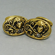 SALE Antique Art Nouveau Goddess Face Gold Filled Cufflinks Clear Paste Stones