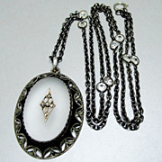 SALE Art Deco Theodor Fahrner Necklace Quartz Rock Crystal Sterling SIlver Filigree Marcasites