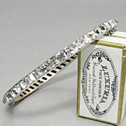 SALE PENDING 1920's Art Deco Bracelet Sterling Silver Channel Set Clear Crystal Square Paste S