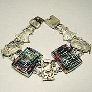 SALE Egyptian Revival Bracelet Sterling Silver Filigree Enamel Faience Nefertiti  King Tut