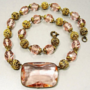 SALE Charming Signed Czech Necklace 1920's Bezel Set Pink Crystal Glass Gilt Gold Brass Filigr