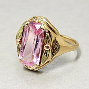SALE Art Deco 10k Gold Ring Ethereal Pink Paste Stone Signed Size 6.25