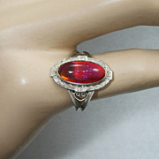 Art Deco Dragon's Breath Opal Czech Art Glass Ring Sterling Silver 7.5