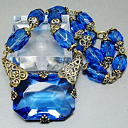 SALE Art Deco 1920's Sapphire Blue Czech Glass Brass Filigree Necklace Prom