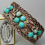 SALE PENDING Chinese Export Bracelet Genuine Turquoise Silver Filigree Art Nouveau