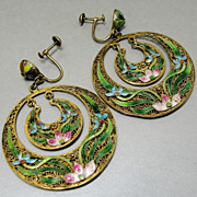 SALE PENDING Exquisite Chinese Export Gilt Sterling Silver Cloisonne Enamel Filigree Earrings