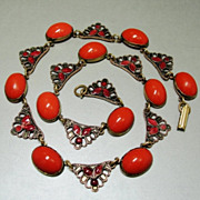 SALE Art Deco Celluloid Red Coral Enamel Filigree Brass Necklace