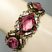 SALE PENDING Art Deco Pink Czech Amethyst Glass White Enamel Bracelet Gilt Brass Filigree