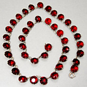 SALE PENDING Art Deco Sterling Silver Ruby Red Crystal Necklace Open Back Glass Paste Stones