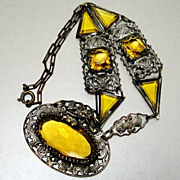 1920's Art Deco Czech Glass Flapper Necklace Dragon Filigree Bezel Set Yellow Citrine Crystal