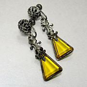 Art Deco 1920's Czech Glass Flapper Earrings Silver Filigree Bezel Set Crystal