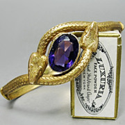 SOLD RESERVED *** Art Deco 20's Signed Snake Bracelet Egyptian Revival Amethyst Glass Rare