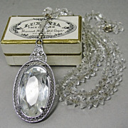 SALE 1930s Art Deco Necklace Clear Crystal Glass Beads & Pendant Rhodium Filigree