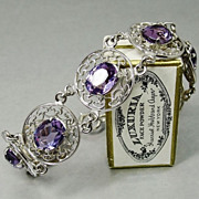 SOLD RESERVED Sterling Silver Amethyst Art Deco Bracelet Sterling Silver Rhodium Filigree Sign