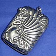 Vintage Silver Plate Match Safe or Vesta Case in Art Nouveau Style