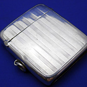 Vintage English Sterling Silver Match Safe or Vesta Case Art Deco Design