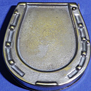 Vintage Brass Figural Match Safe or Vesta Case Modelled as Horse Shoe or Hoof