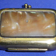 Unusual Ladies Vintage Brass & Mother of Pearl Match Safe or Vesta Case