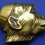 Vintage Brass Figural Match Safe or Vesta Case Wizened Monkey