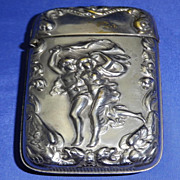 Vintage Plated on Brass Match Safe or Vesta Case Embossed with &quot;The Storm&quot;