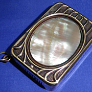 Vintage Art Nouveau Match Safe or Vesta Case Brass and Mother of Pearl