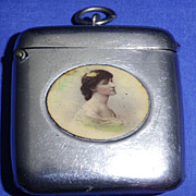 Vintage Plate Match Safe or Vesta Case with Hand Painted Lady