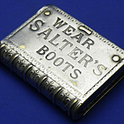 Vintage Match Safe or Vesta Case Plated on Brass Book Shaped and Advertising SALTER'S BOOTS
