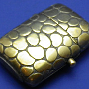 Vintage Brass Match Safe or Vesta Case Crocodile Effect