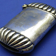 Victorian Late 19th Cent Plated Match Safe or Vesta Case with Fluted Ends