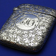 English Sterling Silver Birmingham 1893  Match Safe or Vesta Case