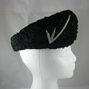 Vintage Black Curly Lambs Wool Ladies Hat
