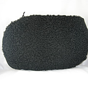 Vintage Black Curly Lambs Wool Zippered Muff Purse