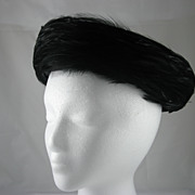 Black Velvet Pill Box Hat With Black Feathers by Mr. James, New York