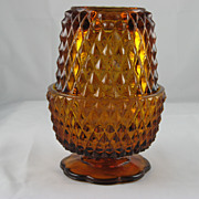 "Indiana Glass ""Diamond Point"" Amber Candle Lamp"