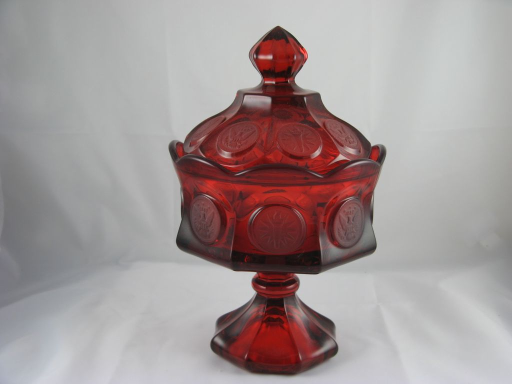 Fostoria Red Coin Glass Wedding Bowl & Lid