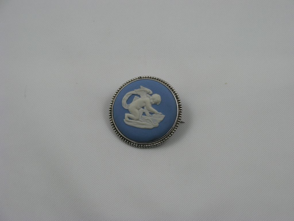 Wedgwood Jasper Blue &quot;Cupid Stringing Bow&quot; Pin