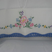 White Standard Pillowcases With Blue Crocheted Border & Needlepoint Flowers