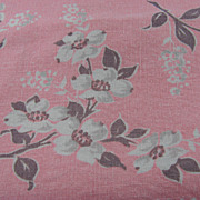 White & Pink Vintage Linen Tablecloth